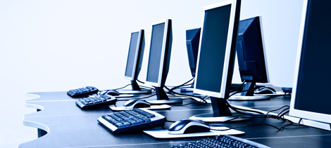 Laptops in a computer lab